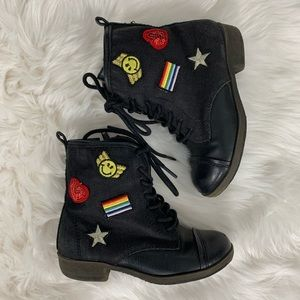 Girl's Mia Kids, Patches Combat Boots size 9